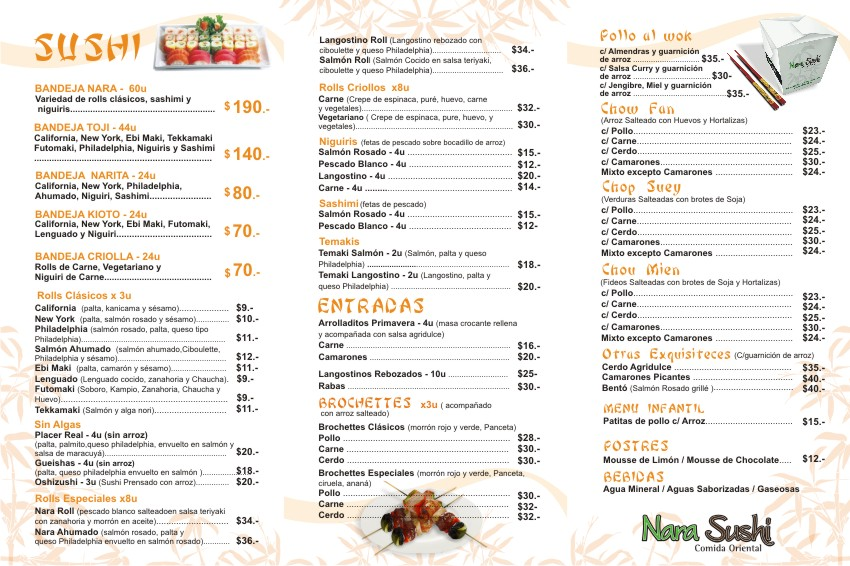 Nara Sushi Virginia Beach Menu